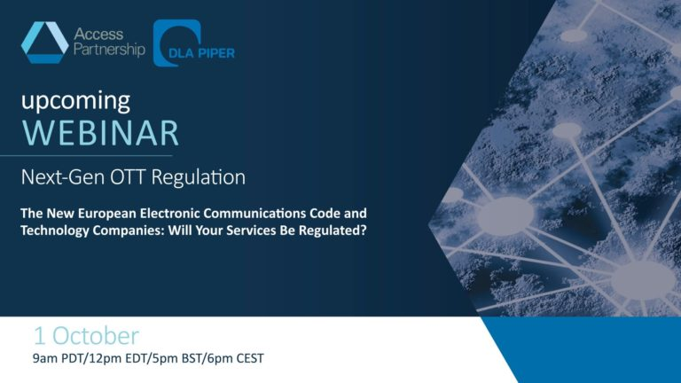 Upcoming Webinar | The New European Electronic Communications Code: Will Your Services Be Regulated?