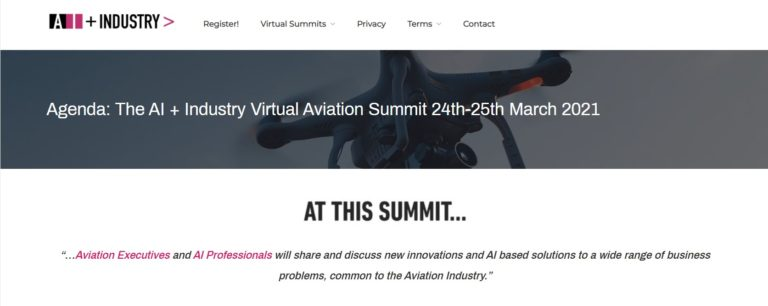 Upcoming Online Summit: The AI and Industry Virtual Aviation Summit